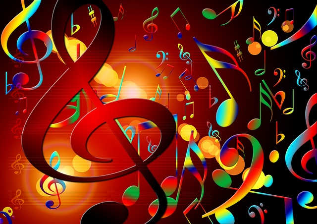 notes de musique colorées